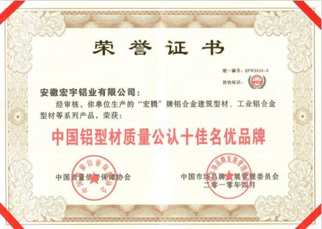 中国铝型材质量公认十佳名优品牌